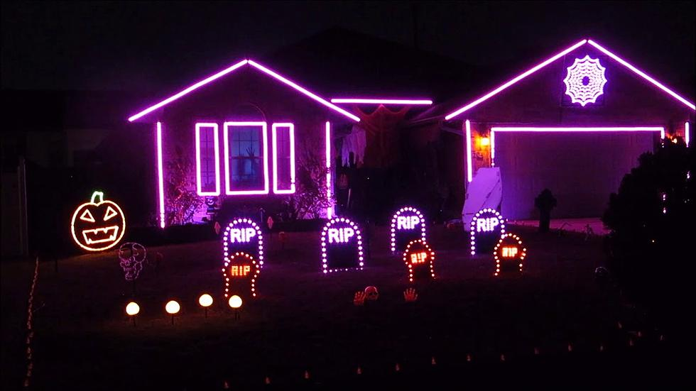 Watch These Cool Outdoor Halloween Light Displays [VIDEO] on halloween driveway lights, halloween lawn lights, halloween walkway lights, cat eyes halloween lights, halloween decorations lights, christmas lights, halloween pathway lights, outdoor mason jar lights, orange halloween lights, outdoor holiday lights, halloween decorating ideas lights, halloween yard lights, outdoor pathway lights zombie heads, halloween prop lights, halloween string lights, target halloween lights, outdoor string lights, black halloween lights, halloween night lights, halloween pumpkin lights,