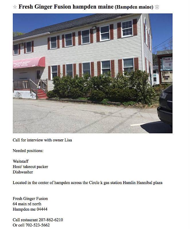 Screenshot via Craigslist  sc 1 st  Z107.3 & Bangor Area Restaurant Shows Signs of Reopening Soon
